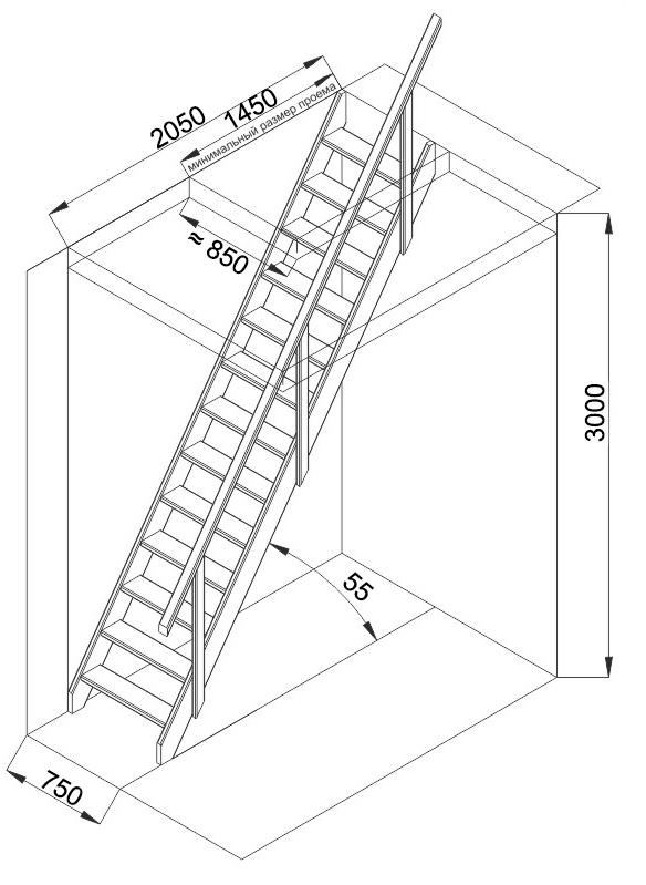 Дачная лестница на второй этаж чертежи